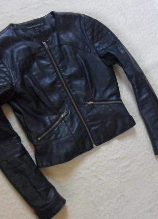 497e2a8989a Стильная черная приталенная кожаная куртка french connection