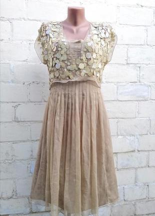 Moschino платье натуральный шелк, оригинал, паетки