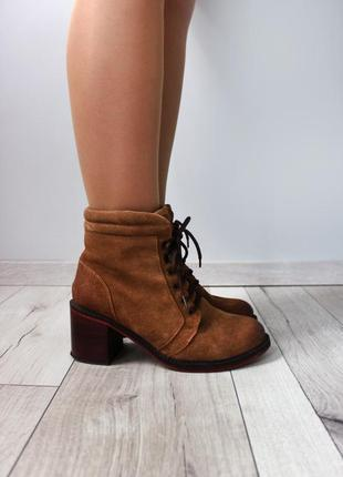 Коричневые ботинки на каблуке springfield