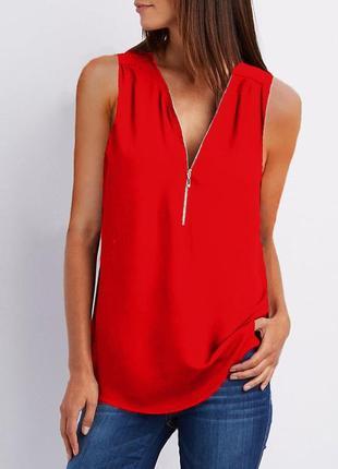 Топ красная блуза new look замок спереди блузка без рукавов шифоновая