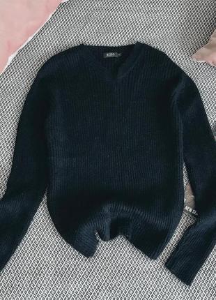 Чёрный мохеровый свитер reiss
