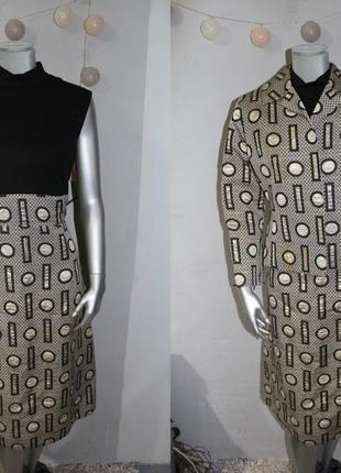 Шерстяной жакардовый костюм комплект платье и пиджак