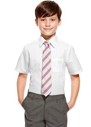 Белая школьная рубашка с коротким рукавом marks&spenser  на 13-14 лет на рост 164 см