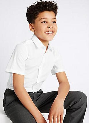 Белая школьная рубашка с коротким рукавом marks&spenser англия на 10-11 лет на рост 146см