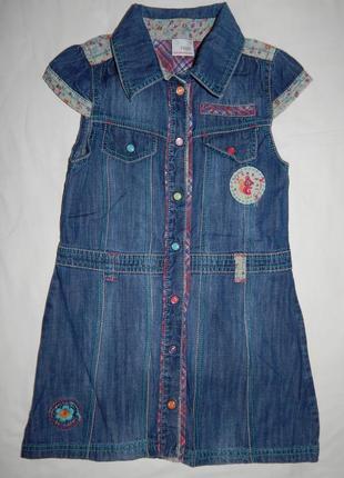 Стильное джинсовое платье next с коротким рукавом. на девочку 4-5 лет рост 104-110 см.