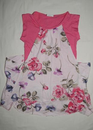 Стильное трикотажное платье next с коротким рукавом. на девочку 6 лет. рост 116 см.