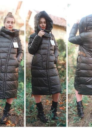 Длинный пуховик зимнее пальто одеяло-пуховик темный хаки