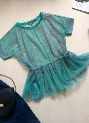 Трендовая прозрачная блузочка сеточка фатин с воланом оборочками