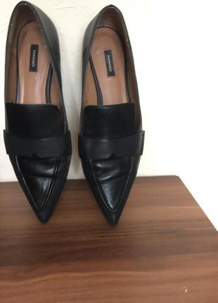 Кожаные туфли лоферы mango р.37 оригинал