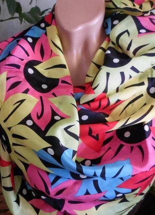 Тонкий шелковый платок /яркие подсолнухи/esprit/78х80см