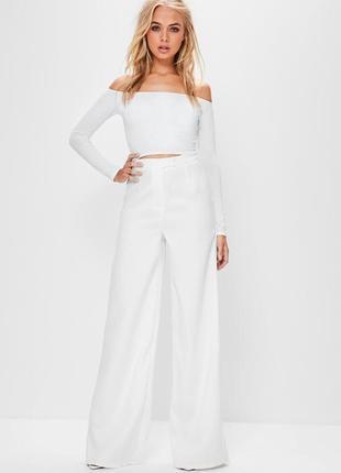Нереально красивые трендовые качественные белые брюки палаццо с высокой талией missguided