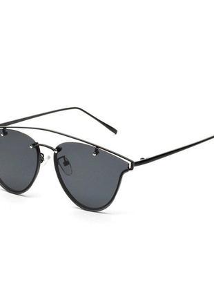 """Солнцезащитные очки мини """"кошачий глаз"""" черная линза антирефлекс серебристая оправа метал"""