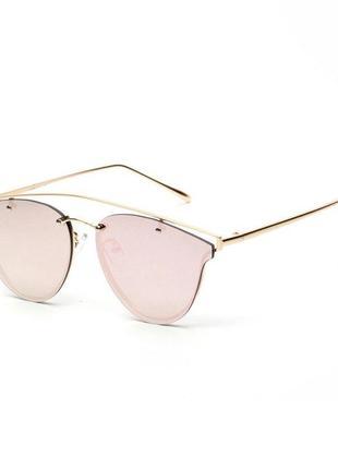 "Солнцезащитные очки мини ""кошачий глаз"" линза зеркало антирефлекс оправа золото"