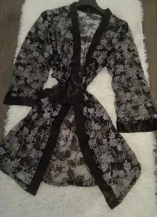 Італійський халат/пеньюар в білизняному стилі
