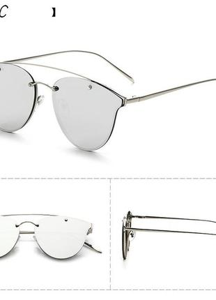 "Солнцезащитные очки мини ""кошачий глаз"" линза зеркало антирефлекс оправа серебро"