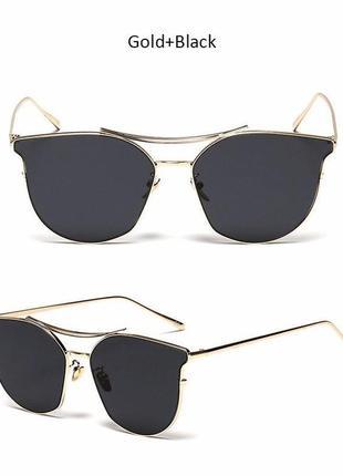 Солнцезащитные очки с усиленной оправой метал и черной дымчатой линзой антирефлекс1 фото