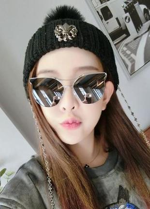 Солнцезащитные очки с усиленной оправой метал и черной дымчатой линзой антирефлекс5 фото