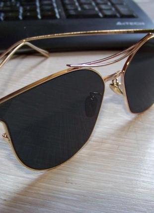 Солнцезащитные очки с усиленной оправой метал и черной дымчатой линзой антирефлекс3 фото