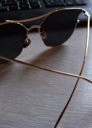 Солнцезащитные очки с усиленной оправой метал и черной дымчатой линзой антирефлекс4 фото