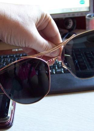 Солнцезащитные очки с усиленной оправой метал и черной дымчатой линзой антирефлекс2 фото
