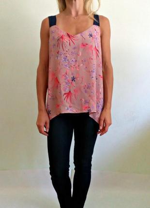 Красивая легкая блуза с фламинго