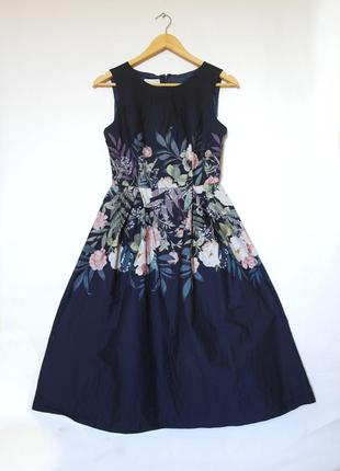 Шикарное платье в цветочный принт. платье миди. синее платье. платье коттон
