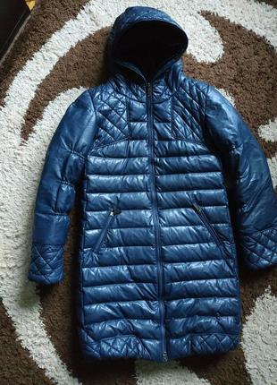 Пуховик эко кожа zara,теплая зимняя куртка zara эко кожа, зимнее пальто zara