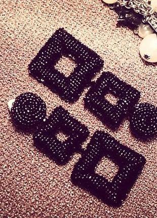 """Трендовые серьги """"квадратики"""" из богемского бисера/double square beaded earrings"""