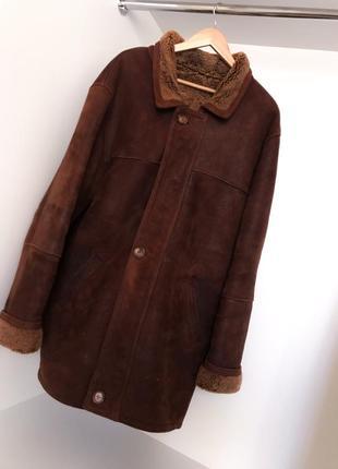 Мужская натуральная зимняя дубленка пальто коричневая воротником карманы