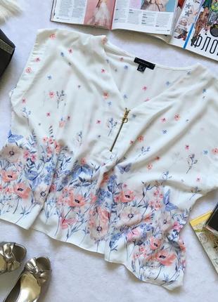 Нереально нежная блуза туника в акварельный принт atm uk16/eur44