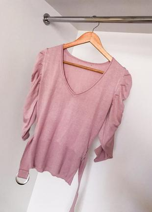 Пудровая розовая кофта свитер джемпер пояс  декольте v вырез с рукавом три четверти сборка