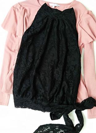 Модная кружевная блуза/топ с завязками сбоку под горлышко next