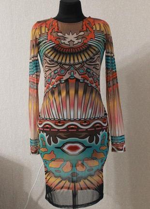 Платье мили с необычным принтом,сетка,р.m-l