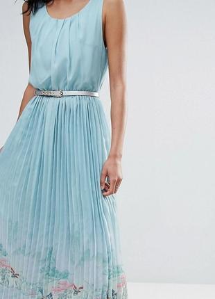 Шикарное длинное шифоновое платье с юбкой плиссе uttam boutique 14-16uk