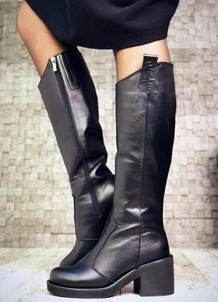 Рр 36-40 зима натуральная кожа люксовые стильные черные сапоги