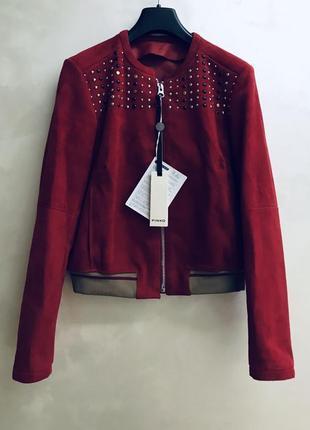 Кожаная замшевая куртка красная бомбер pinko оригинал осенняя замша кожа осень италия