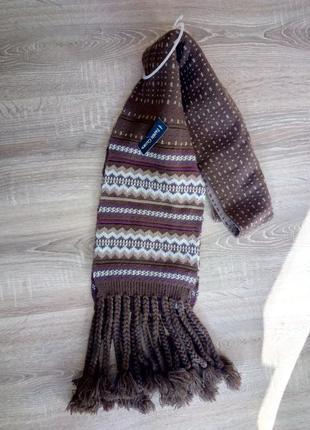 Новый вязаный двусторонний теплый шарф