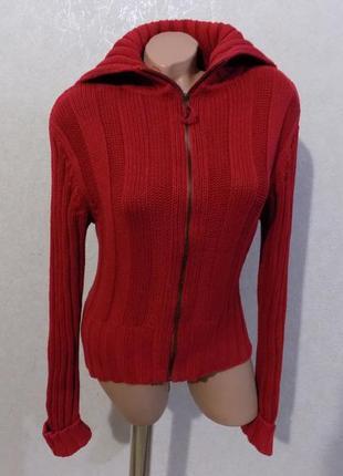 Кофта свитер вязаная на змейке с воротником под горло фирменная размер 48