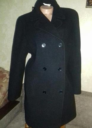 Черное трендовое классическое женское пальто george, р. xl/шерсть