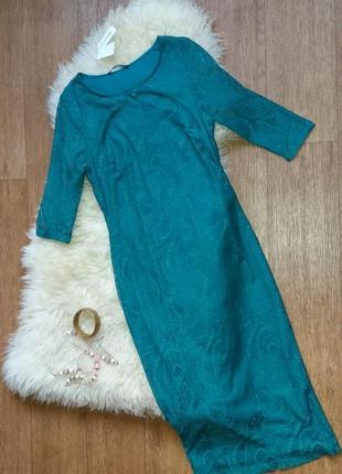 Платье кружевное изумрудного цвета