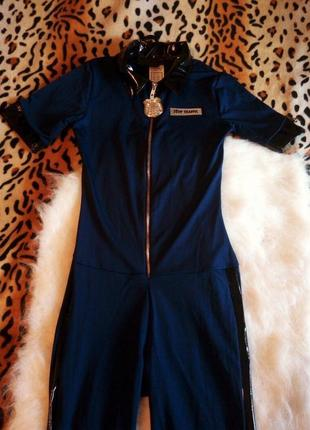 Секси костюм полиции черный кожзам ролевые игры комбинезон синий эротик хеллоуин