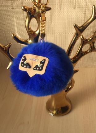 Брелок на сумку,нат.меховой монстр,ярко-синего цвета