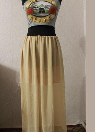 Шифоновая длинная юбка,р.xs-m