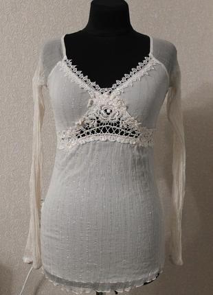 Нежная блуза с люрексом и кружевом,р.xs