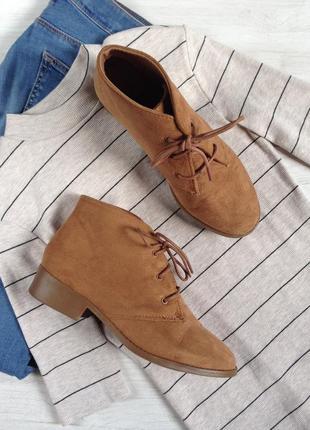Низкие ботинки на шнуровке atmosphere 39 р рыжие на маленьком широком каблуке