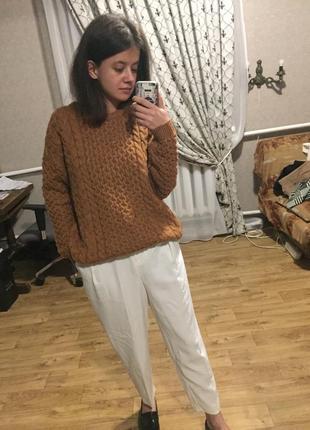 Тренд этой осени стильный тёплый горчичный свитер h&m