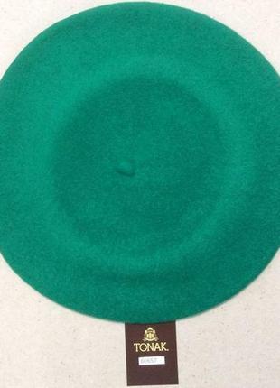 Берет фетровый чешской фирмы tonak и fezko. 060785-м ярко-зеленій