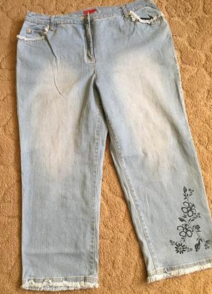Супер джинсы-стреч  жен укороченные раз 4xl-5xl