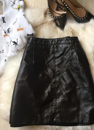 Лаковая юбка эко кожа🖤🖤🖤