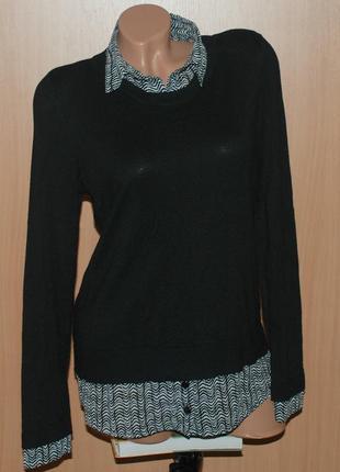 Оригинальный свитер от george со вставками-имитацией рубашки.